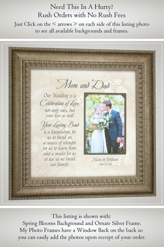Father Of The Bride Gift Personalized Wedding Frame Parents Etsy