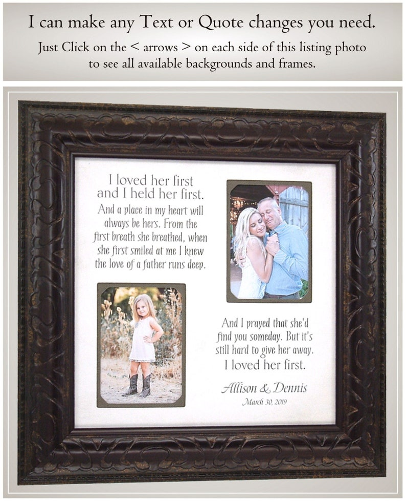 Father of the Bride wedding gift for Dad from Daughter Personalized Wedding Gifts from PhotoFrameOriginals Frames