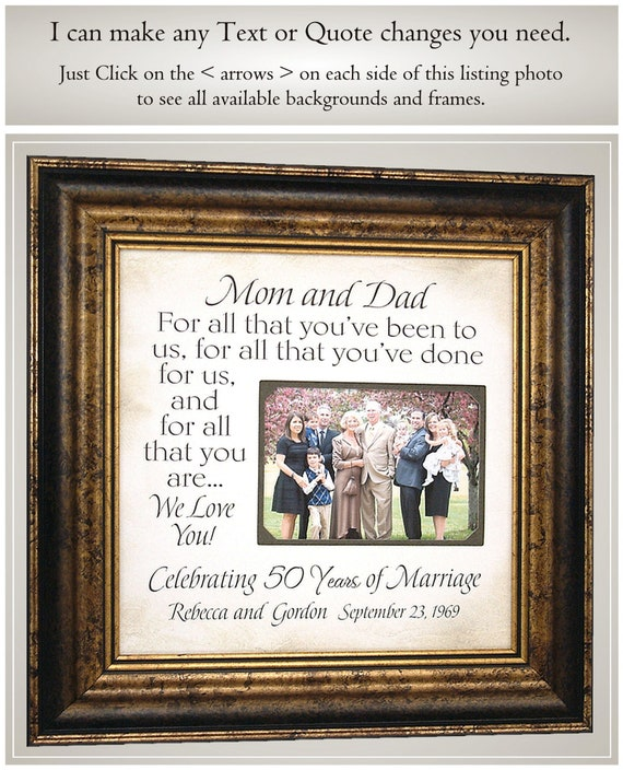 50th Golden Wedding Anniversary Gifts For Parents Etsy