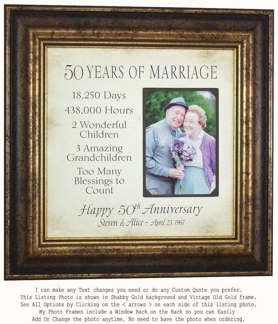 Anniversary Photo Frame Parents Anniversary Gift 50th | Etsy