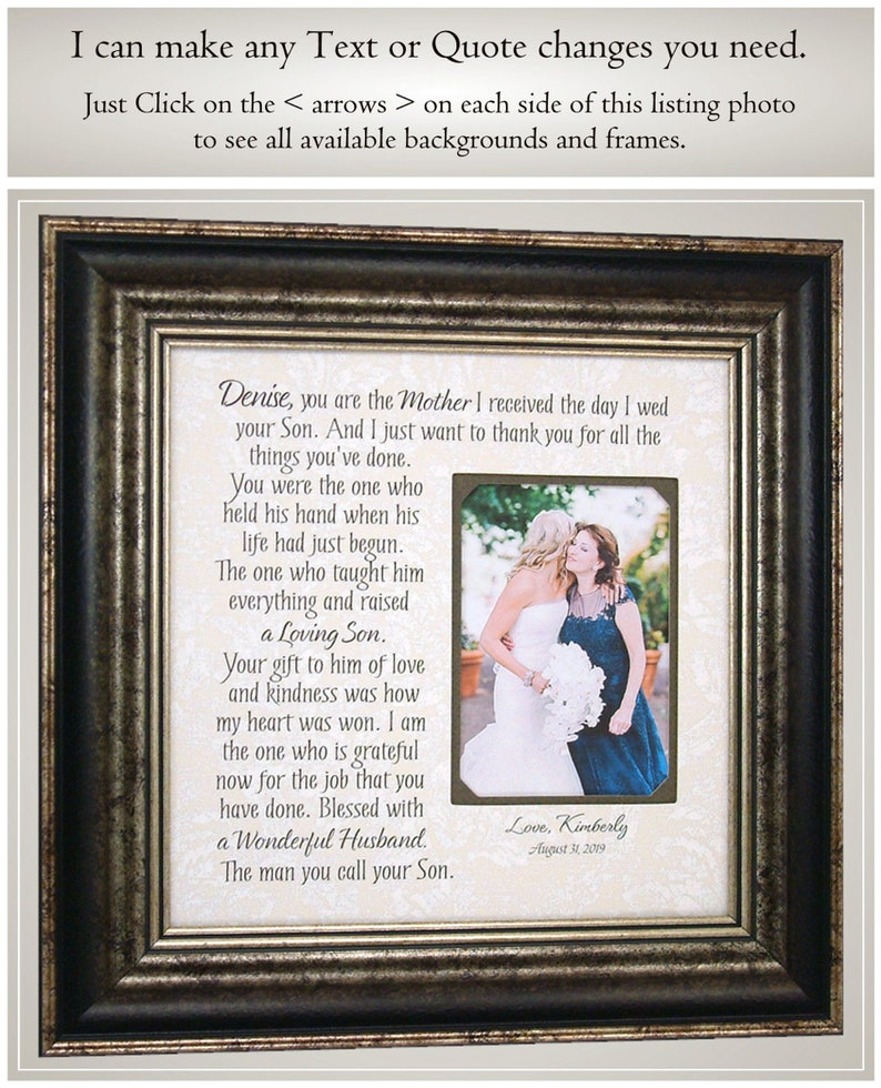 Mother of the Bride gift Mother of the Groom gift Wedding gift from bride Wedding gift from Groom Parents Wedding gift Wedding frame parents