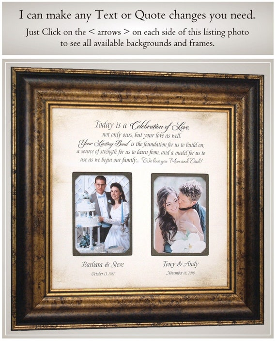 Father of the Bride Gift 16x16 Wedding Gift for my dad Mother of the Bride Gift Parents Wedding Gift Quote Photo Frame