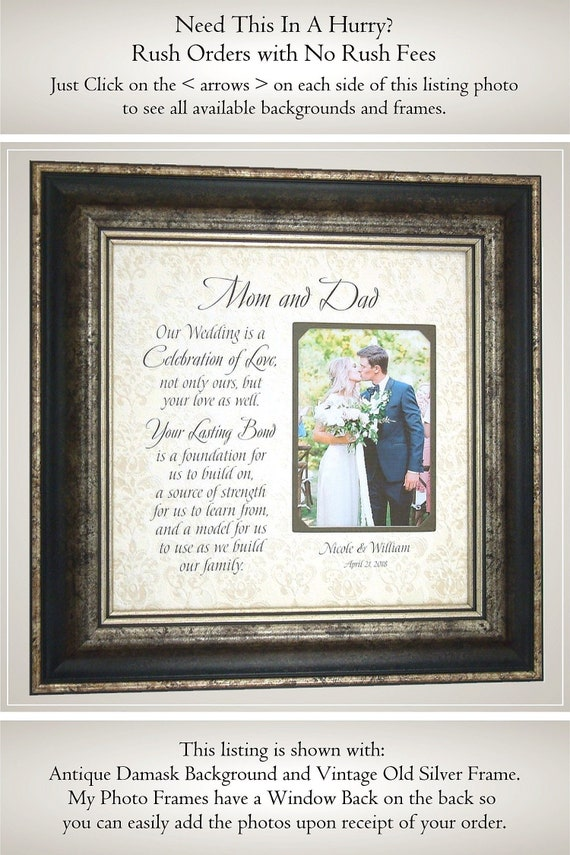Wedding Frame For Parents Personalized Wedding Picture Frame | Etsy