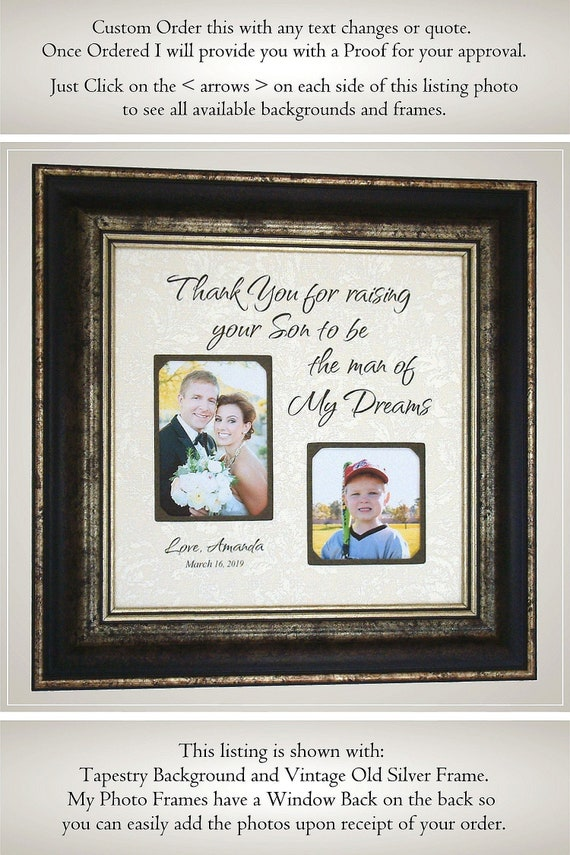 Thank You For Raising The Man Of My Dreams Wedding Thank You Gift For Mother Of The Groom Parents Of The Groom Picture Frame