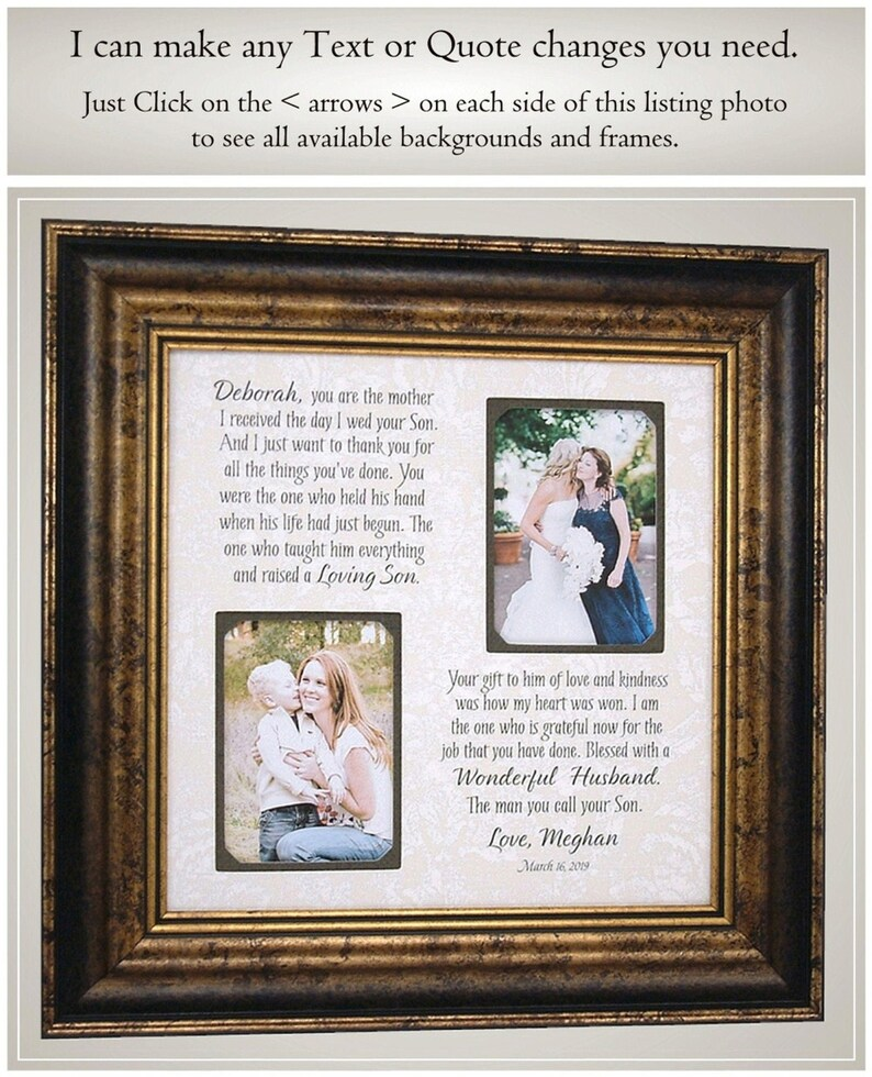Wedding Thank You Gift Mother In Law Mother of the Groom Frame