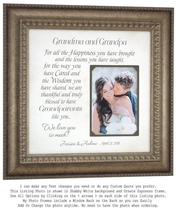 Wedding Gift for Grandparents Personalized Picture Frame | Etsy
