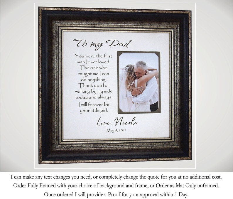 Father of the Bride Gift Framed picture of Bride and Dad image 0