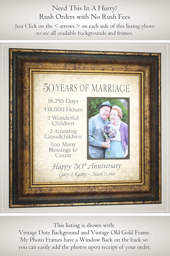 Parents Anniversary Gift 50 Years Of Marriage Anniversary Etsy
