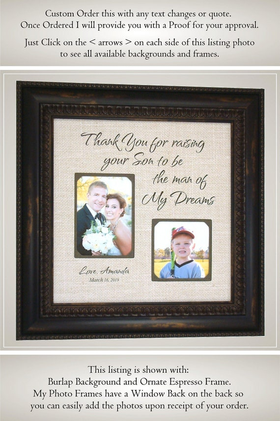 Wedding Picture Frame Father Of The Groom Gift In Laws Gift Etsy