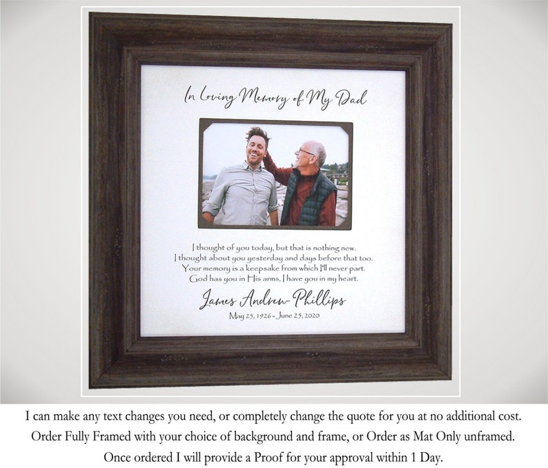 Loss of Father Gift Memorial Frame Sympathy Gift Father image 0