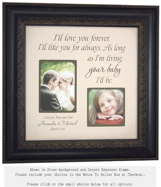 Wedding Gift For Parents Personalized Picture Frame Ill Love You