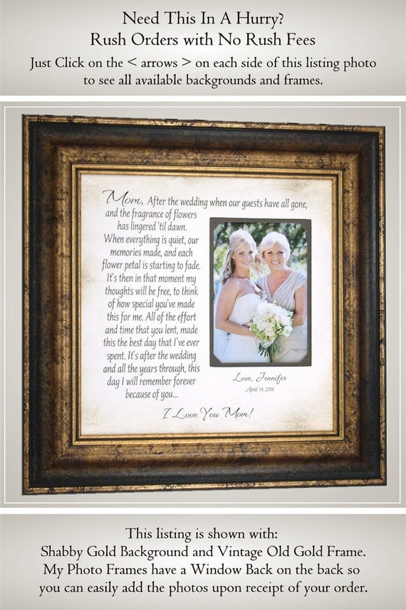 Mother Of The Bride Gift From Daughter Parents Wedding Thank Etsy
