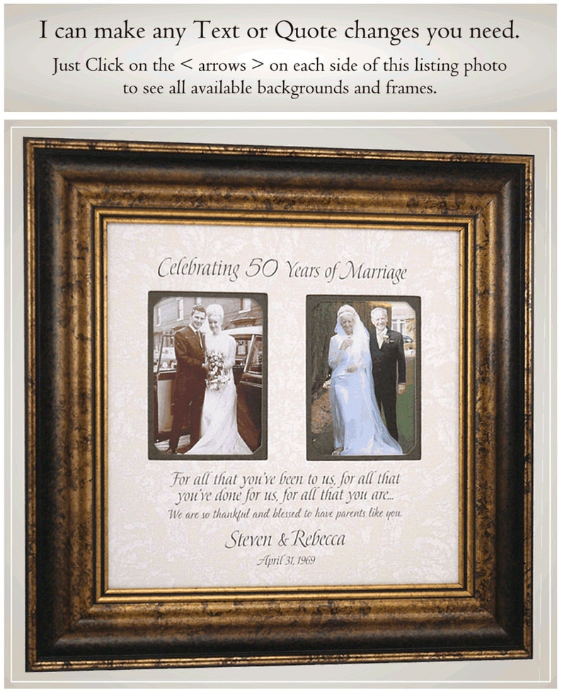 50th Anniversary Gifts Then and Now Picture Frame for Parents Anniversary Gift Golden Anniversary Gift for Parents 50th Anniversary Party