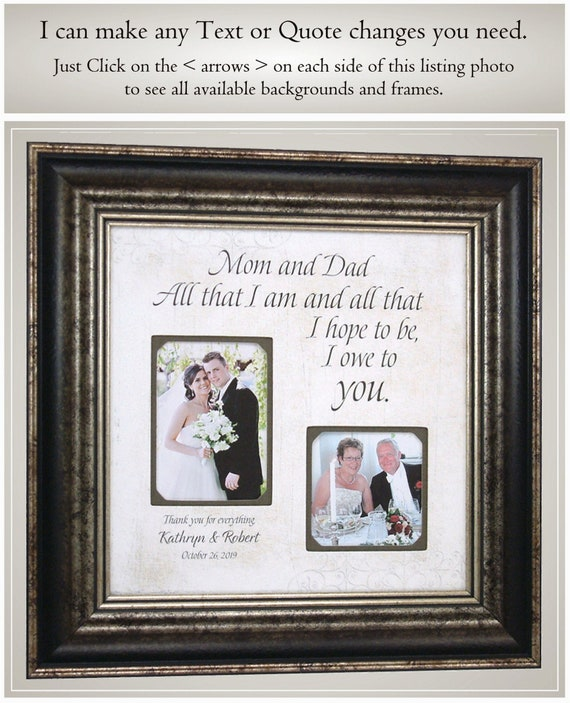 Parents Gift Mat From Daughter Gift to  Parents Gift  Bride Gift to Parents Personalized Mat Wedding Parents Gift  8x10 Overall Size