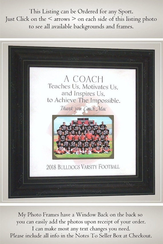 Coach Photo Frame Coach Gifts Coach Thank You Gift Team | Etsy