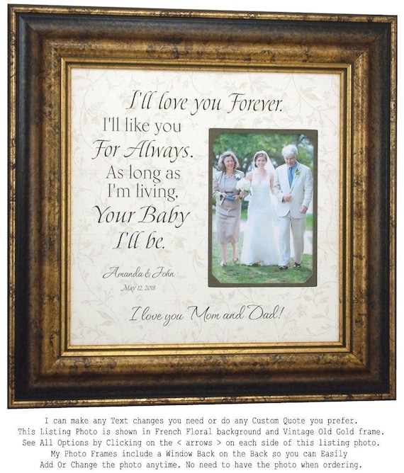 Personalized Wedding Gift for Mom Wedding Photo Frame Father | Etsy