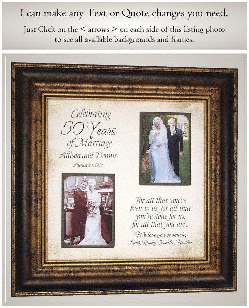 50th Anniversary Gift for Parents Parents Anniversary Gift PhotoFrameOriginals 50th Anniversary Gift for Grandparents