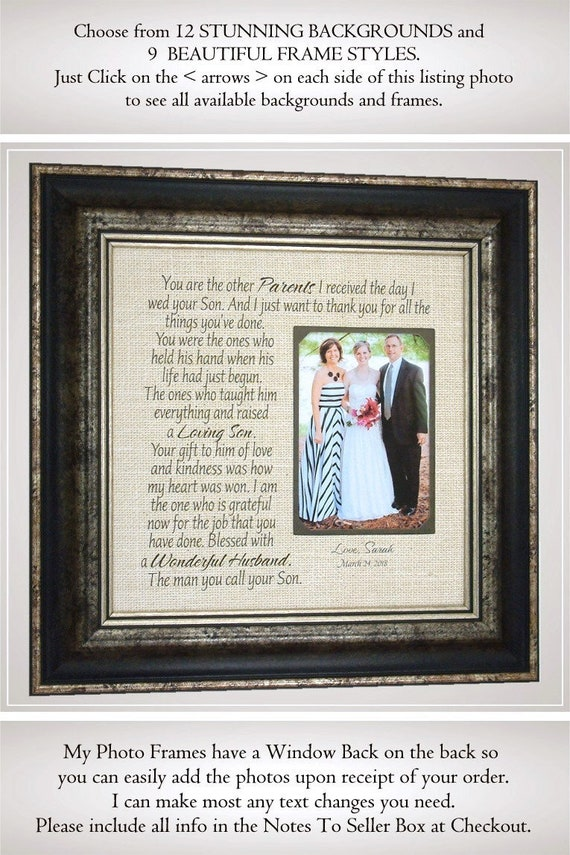 In Laws Wedding Gift Parents Gift Bride Gift To Parents Etsy