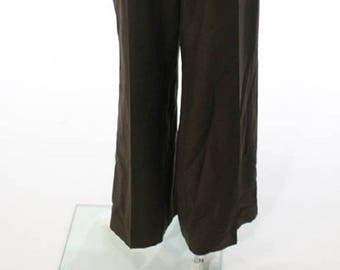 CAROLINA HERRERA chocolate brown mohair and wool blend trousers,
