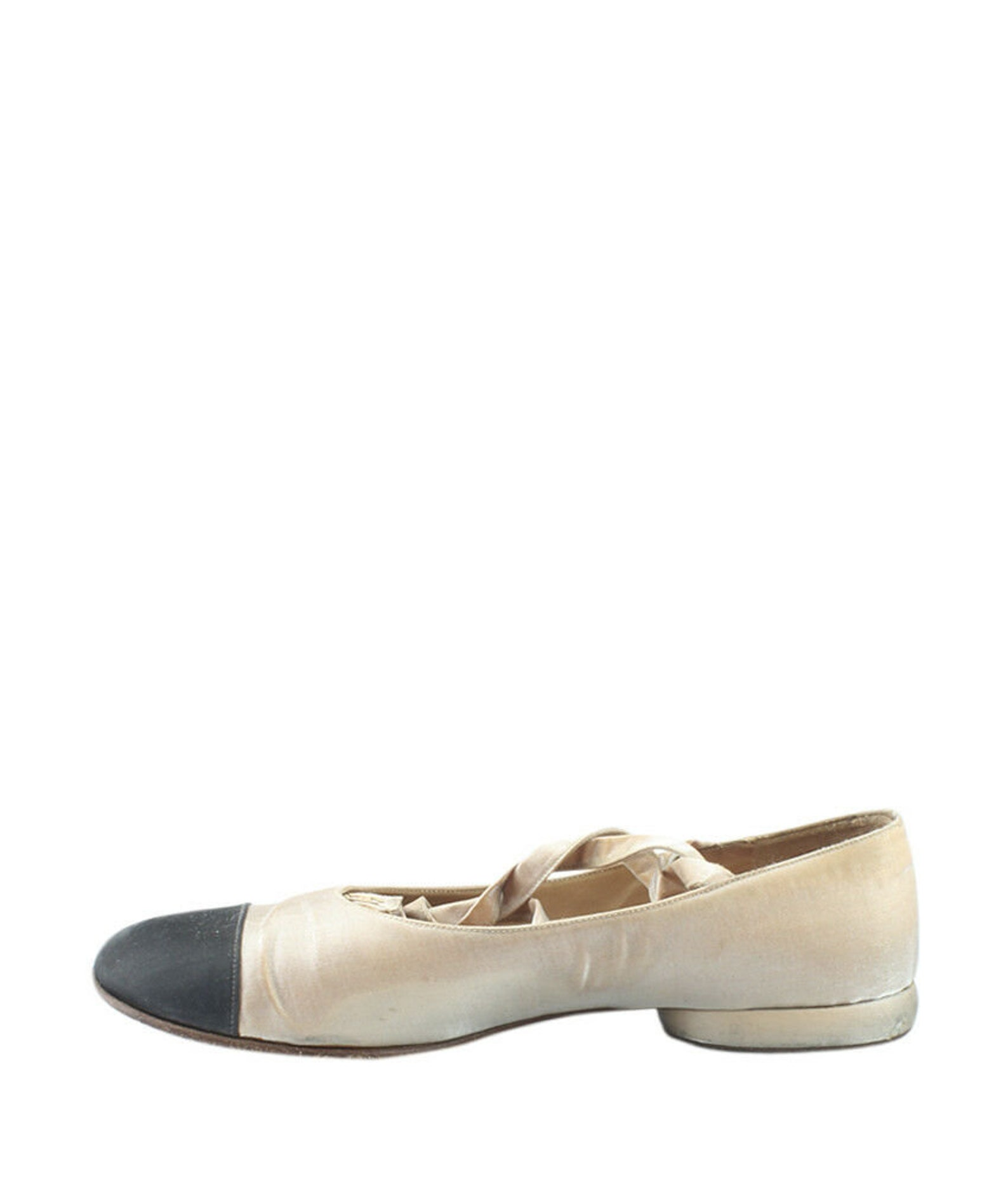 chanel ballet flats cap toe with ankle straps