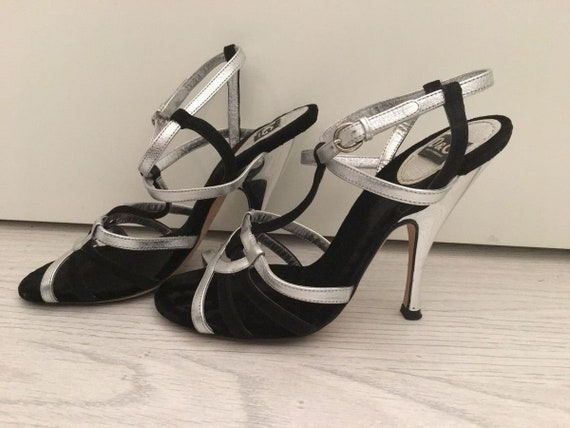 DOLCE&GABBANA Sandals  Strappy Silver  Lame Heels