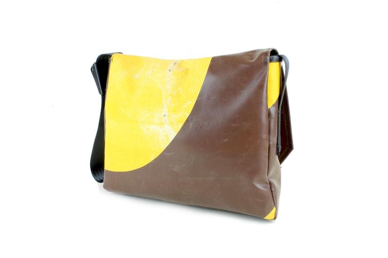 Shoulder Bag Y03 Water resistant Laptop Bag Messenger Bag made from Upcycled Truck Tarp Courier Bag Satchel