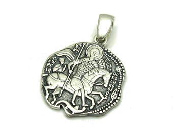 Saint george etsy pe001114 sterling silver pendant solid 925 saint george empress aloadofball Image collections