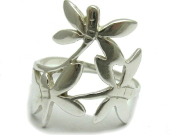 Sterling silver ring dragonfly solid 925 stylish pendant