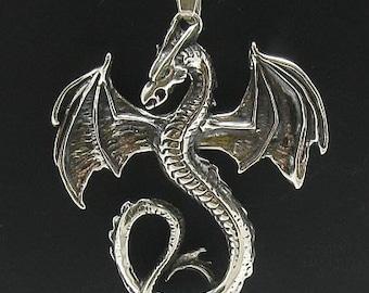 PE000132 Sterling silver pendant Dragon solid 925