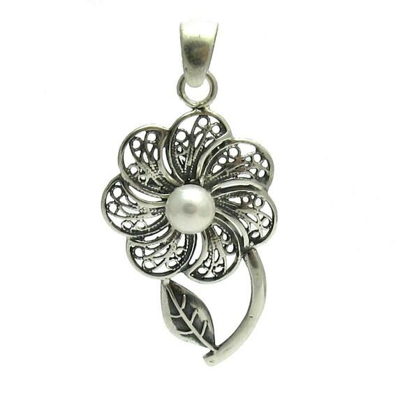 Fleur en pendentif en argent massif 925 Sterling PE000976 nacre