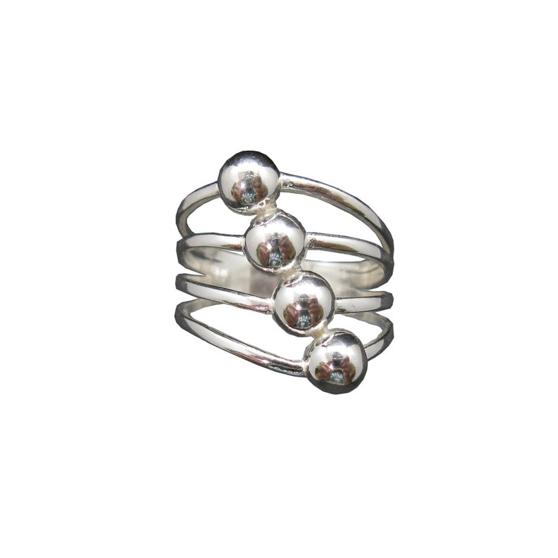 Stylish sterling silver ring solid 925 two balls R001759 Empress