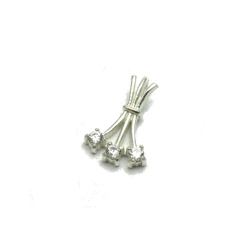 PE001183 Sterling silver pendant with 3x2.5mm round CZ 925  Perfect quality