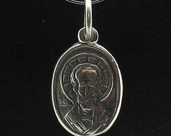PE000502 Sterling silver pendant   925 solid Saint Nicholas charm