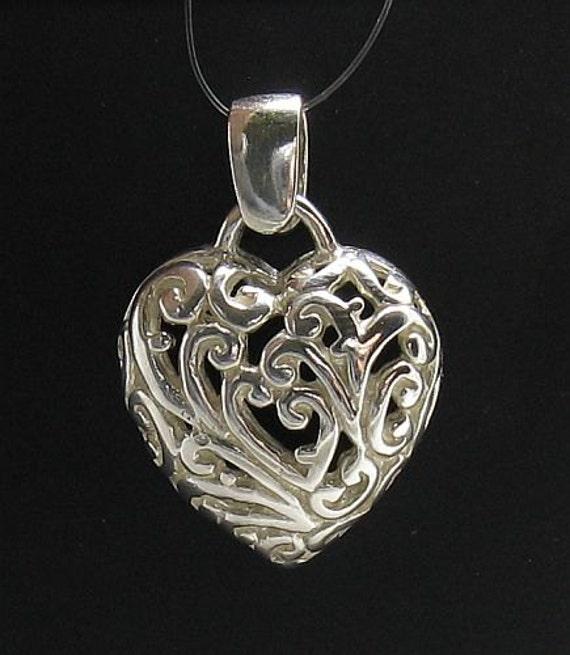PE000695 coeur Floral en argent Sterling pendentif argent massif 925