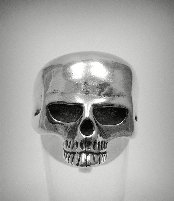 Sterling silver biker ring Skeleton Skull solid 925 R000672