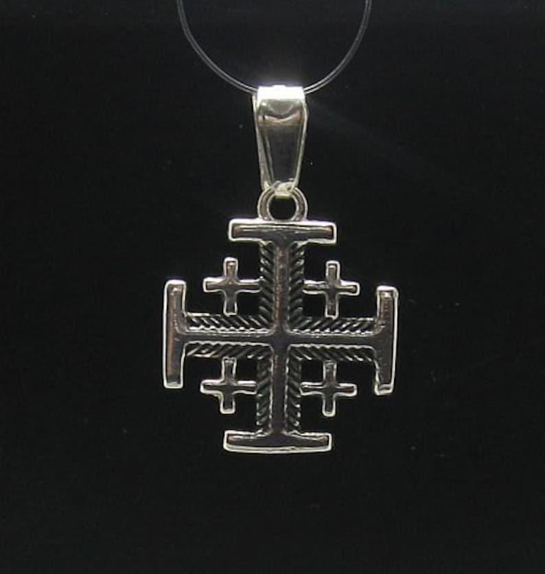 PE000588  Sterling silver pendant Jerusalem cross solid 925 image 1