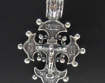 PE000343 Sterling silver pendant orthodox cross solid 925