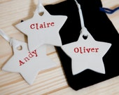 Personalized Christmas Decorations Set of 3 Ceramic Stars