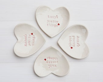 Personalised Bridesmaid Gift Ring Dish Custom Heart Ring Dish Jewellery Catcher