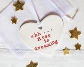 Personalised New Baby Gift-Nursery Door Hanger-Baby Sleeping Sign-Custom Made Ceramic Ornment-Free UK Shipping