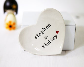 Personalised Gift Ring Dish Heart Jewelry Catcher
