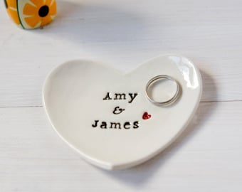 Personalised Wedding Ring Dish, Custom Heart Wedding Ring Bearer Bowl - comes with gift box