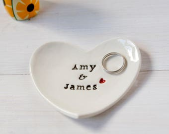 Wedding Gift, Personalised Ring Dish, Custom Wedding Ring Dish, comes with gift box, Ceramic Wedding Ring Dish by Diana Parkhouse