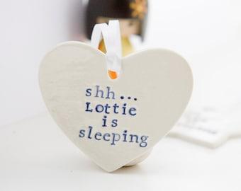 Custom Nursery Door Hanger Heart, Baby Sleeping Door Sign