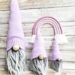 Gnomes. Faux fur. home decor. Modern farm house purple hat felt gnome. Shelf sitter