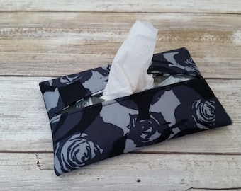 Black Petals Travel tissue cover, Accessory Bags, tissue cover