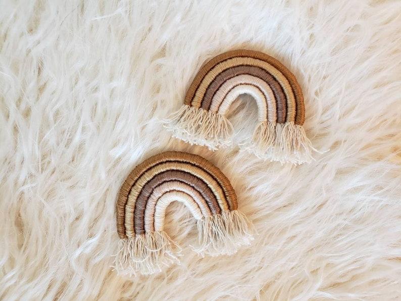 Fall Rainbow hair clip. macrame. Rope rainbows yarn rainbow. image 0