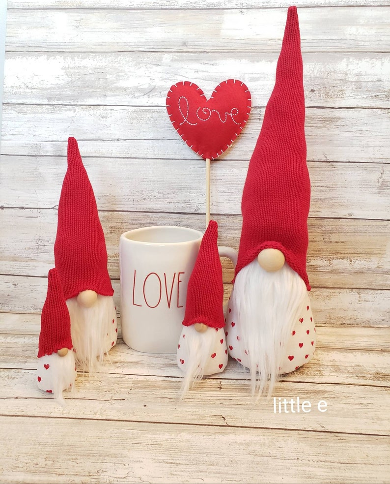 Valentine Gnomes. Faux fur. home decor. Modern farm house felt image 0
