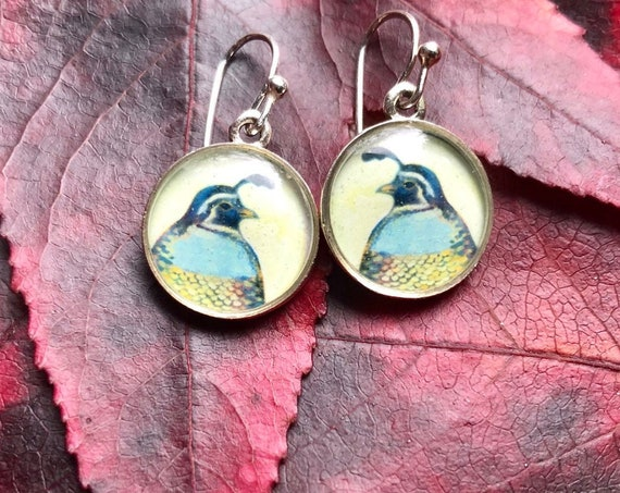 Silver Quail Earrings/Nature Jewelry Gift/quail earrings for her/Earthy Silver Jewelry/Orinthology Gift