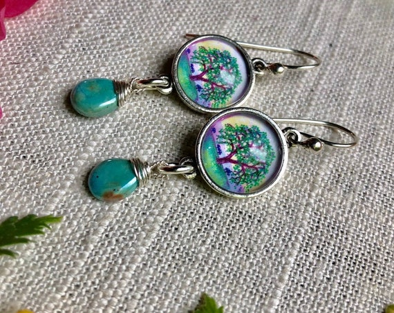 Silver Illustrated Oak Tree Earrings with Turquoise Dangles|Silver Oak Tree art-tree lover earrings-Tree of Life Silver Turquoise